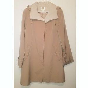 Gallery Tan/Beige Hooded Rain Trench Coat Jacket